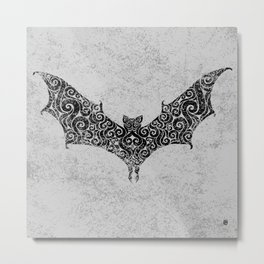 Swirly Bat Metal Print