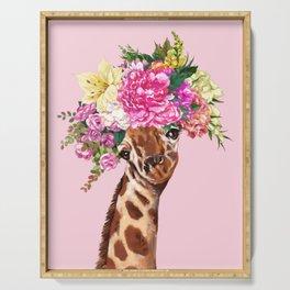 Flower Crown Baby giraffe in Pink Serving Tray