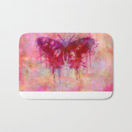 Artsy butterfly watercolor lllustration Bath Mat