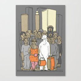 Polar Bear Is Falling In Love With The City Canvas Print