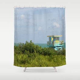 Caribbean Colored Lifeguard Station At Miami Beach Shower Curtain