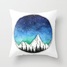 Mountain Galaxy Circle Throw Pillow