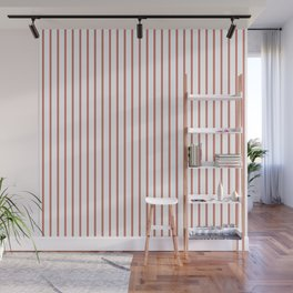 Camellia Pink Pinstripe on White Wall Mural