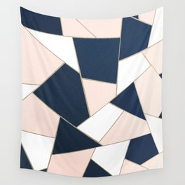 Navy Blue Blush White Gold Geometric Glam #1 #geo #decor #art #society6 Wall Tapestry