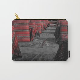 Black and white image with partial colour of red Bedouin cushions Carry-All Pouch