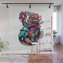 Scooter Driver - GREEN Wall Mural