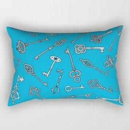Skeleton Keys Blue Rectangular Pillow