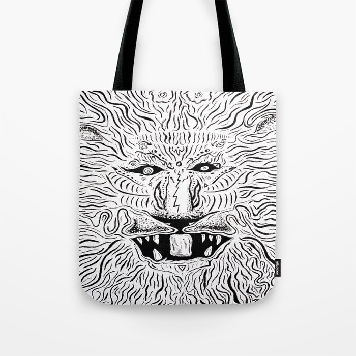 Trippy Lion Mane Painting On Canvas Tote Bag By Ryanholland