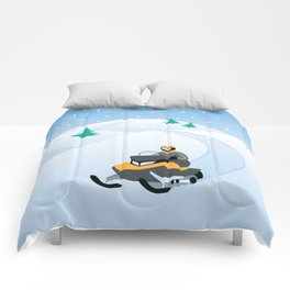 Snowmobiling on a Snowy Winter Day Comforters