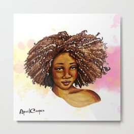Chocolate Afro Curls Metal Print