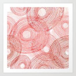 Pink circles abstract lines hand drawn illustration pattern Art Print