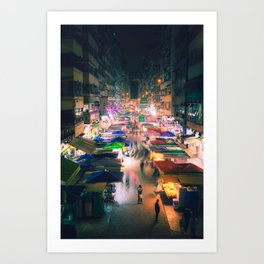 Hong Kong Night Market Art Print