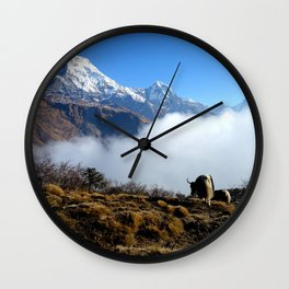 Panoramic View Of Everest Mountain Wall Clock
