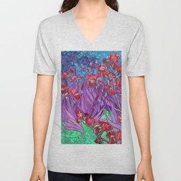 Vincent Van Gogh Irises Painting Cranberry Purple Palette Unisex V-Neck