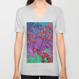 Vincent Van Gogh Irises Painting Cranberry Purple Palette Unisex V-Neck