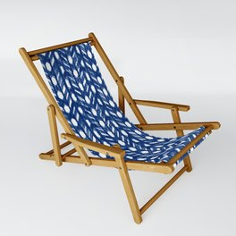 Indigo Geometric Shibori Pattern - Blue Chevrons on White Sling Chair