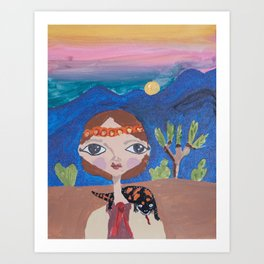 ~ Gila Monster ~ 10 Year Old Amelia's Arizona Critter Girl Art Print