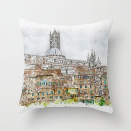 Aquarelle sketch art. View to the old town in Siena, Italy Throw Pillow