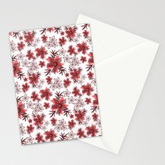 Red flowers on a white background. Stationery Cards