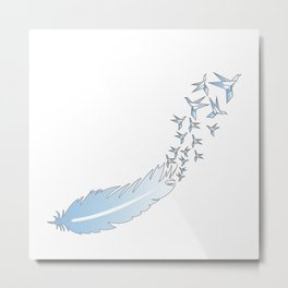 Origami Feather Birds Metal Print