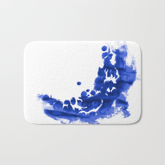 Paint 9 abstract indigo watercolor painting minimal modern canvas affordable dorm college art  Bath Mat