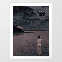 'Ultrasound Moon' Collage Art Print