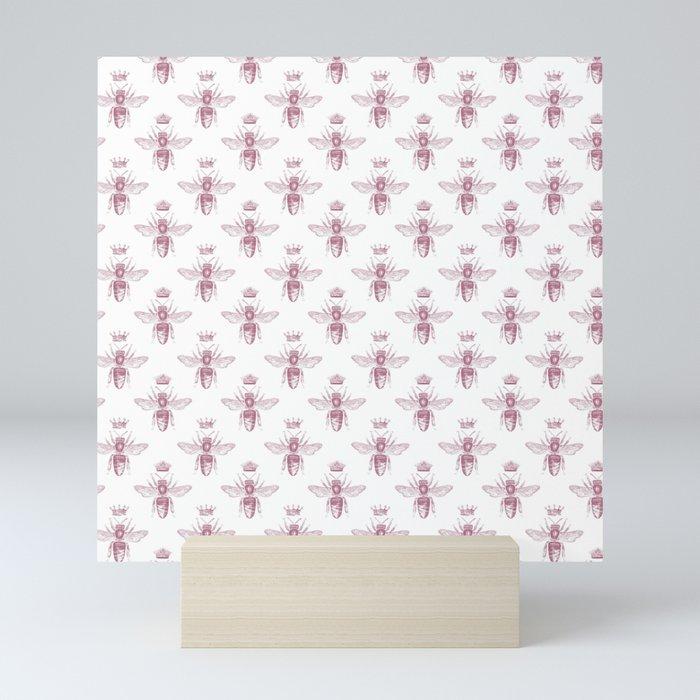 Pink Queen Bee Pattern Mini Art Print