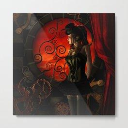 Steampunk, wonderful steampunk lady in the night Metal Print