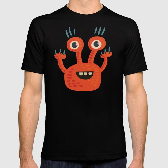 Funny Orange Monster Is Happy T-shirt