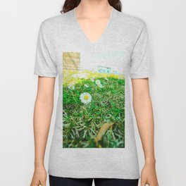 Daisies in Clinch Park - Traverse City, Michigan Unisex V-Neck