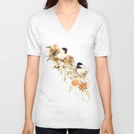 Chickadee bird art, design, chickadees artwork Unisex V-Neck