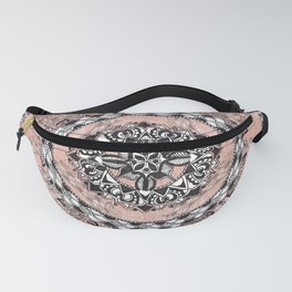 Dusty Rose Pink Sparkle and Rose-Ring Mandala Textile Fanny Pack