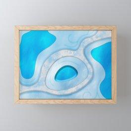 Blue Layers and Curves Framed Mini Art Print