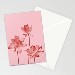 Three Lotos Flowers pink Design Stationery Cards