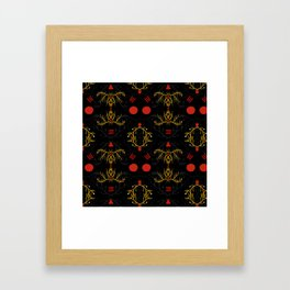 gold and red pattern Framed Art Print