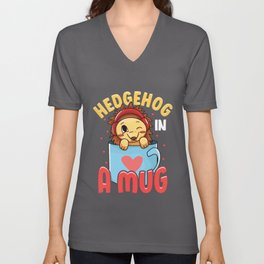 Adorable Baby Hedgehog in a Mug Hedgehog Lovers Unisex V-Neck