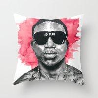 gucci Throw Pillows featuring Gucci Mane by Nicola MacNeil