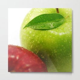 Fresh red and Green Appel in contrasts Metal Print