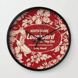 Club Surfing Longboard Surf Logo and Hibiscus Hawaiian Print      Wall Clock
