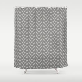 Chevron V Shapes Horizontal Lines Benjamin Moore 2019 Color of the Year Metropolitan Light Gray AF-6 Shower Curtain