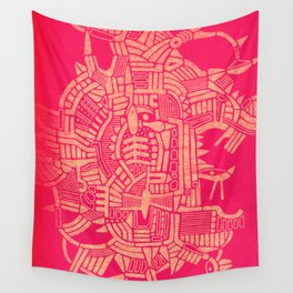 - the pink stencil - Wall Tapestry