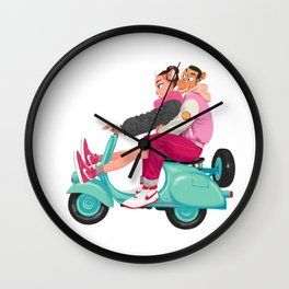 A Valentine with sneaker and Vespa Wall Clock