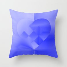 Danish Heart Blues Throw Pillow