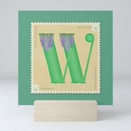 Sellos Naturales. Letter W. Flower: Wisteria Mini Art Print