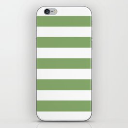 Asparagus - solid color - white stripes pattern iPhone Skin