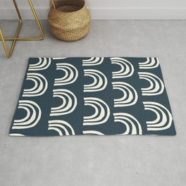 Abstract Boho Rainbow Pattern in Navy Blue and Cream Rug