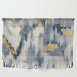 Blue and Gold Ikat Pattern Abstract Wall Hanging