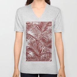Tropical marsala red faux glitter palm tree pattern Unisex V-Neck