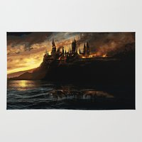 witchcraft Area & Throw Rugs featuring Harry Potter - Hogwart's Burning by Juniper Vinetree