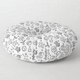 Immune Cells - Black and White Floor Pillow